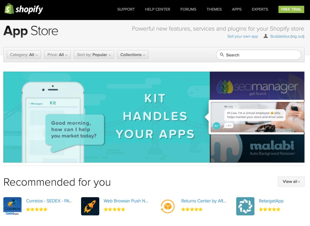 Shopify app store per guadagnare online con il commercio elettronico