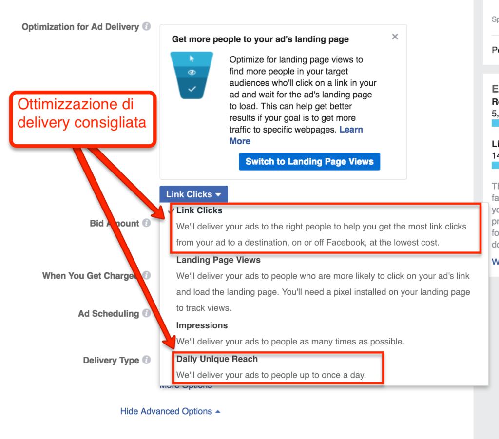 Ottimizzazione delivery facebook retargeting