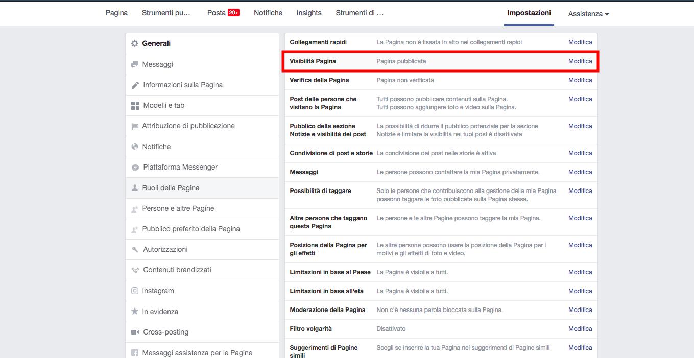controlla se la tua pagina o post è pubblicata